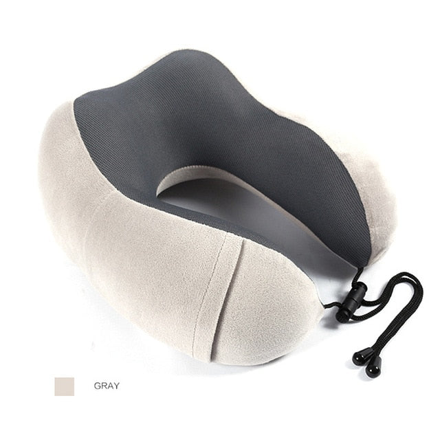 100% Memory Foam Travel Pillow with Premium Velvet Suede Fabric