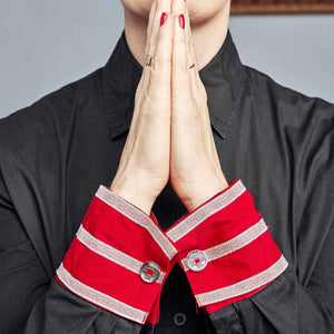 Black shirt. Red double cuff & silver stripes