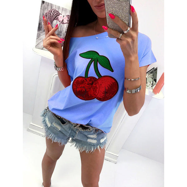Two Cherries Sequins Tee (4 colors)