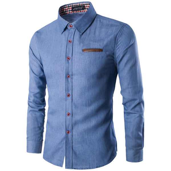 Stylish Light Jean Button Down Shirt