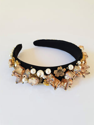 THE OTT PEARL AND STONE ENCRUSTED BLACK VELVET ALICE BAND - AMBER