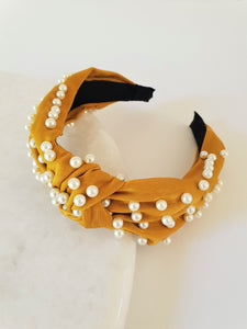 MUSTARD KNOTTED PEARL ALICE BAND
