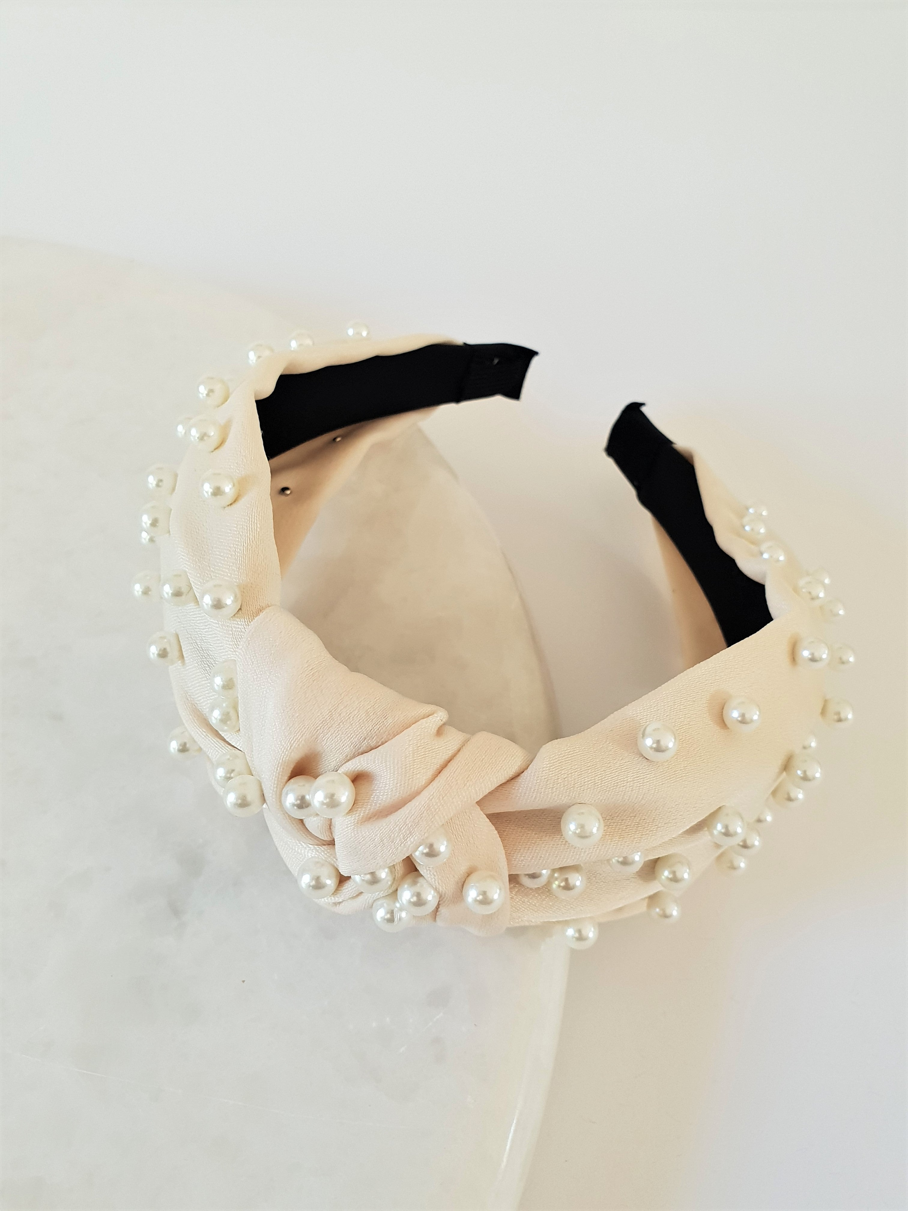 CREAM KNOTTED PEARL ALICE BAND