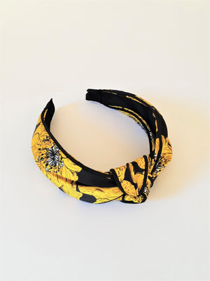 FLORAL SATIN KNOT ALICE BAND - YELLOW
