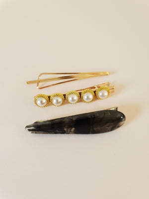 GOLD, PEARL AND RESIN HAIR CLIP SET - BLACK