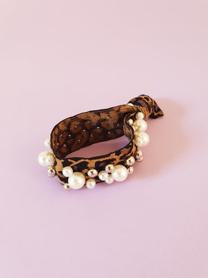 LEOPARD PRINT HAIR TIE WITH PEARL EMBELLISHMENT
