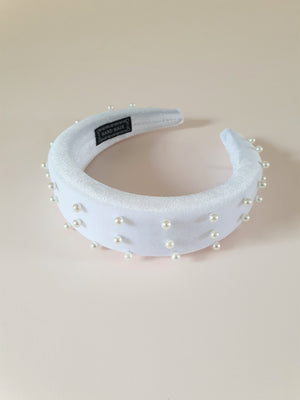 THE HARPER VELVET PADDED HALO BAND WITH PEARLS - WHITE