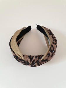 ANIMAL PRINT AND NATURAL KNOT ALICE BAND
