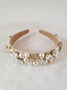 THE BLUSH OVER-SIZED PEARL AND CRYSTAL BAND