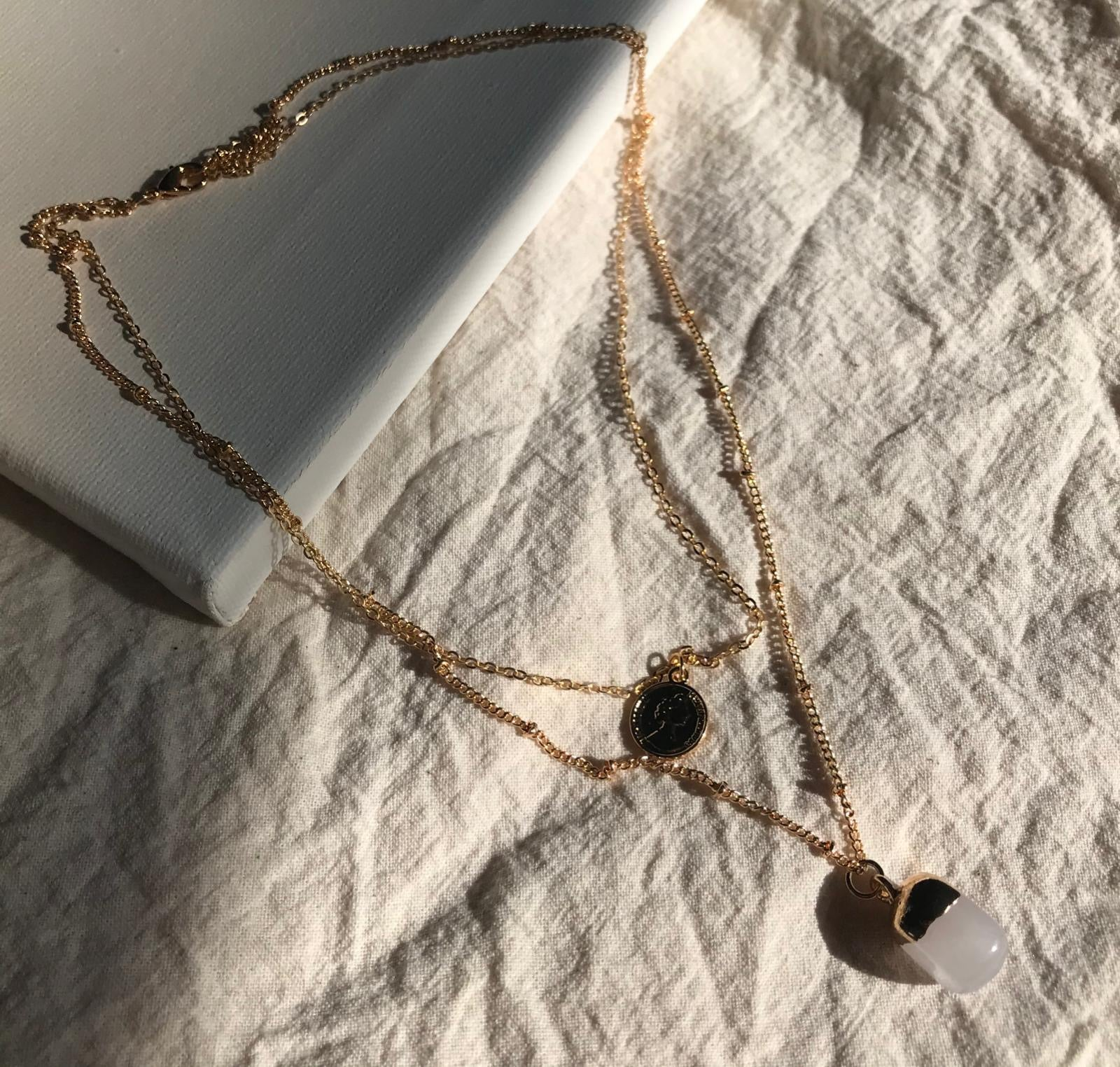 THE DEBRA COIN AND STONE GOLD-PLATED NECKLACE SET