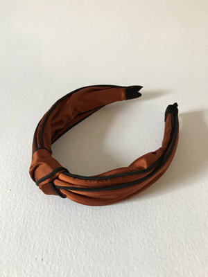 SATIN KNOT ALICE BAND - RUST