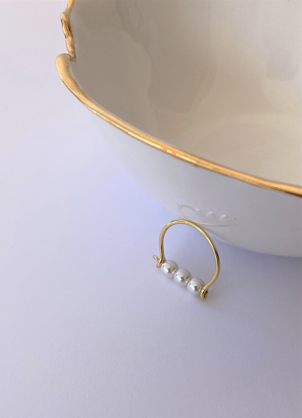 GOLD-PLATED PEARL STACK RING