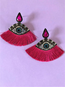 THE ATHENA EARRINGS - CERISE