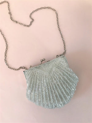 BEADED SMALL SHELL BAG - WHITE