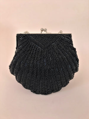 BEADED SMALL SHELL BAG - BLACK