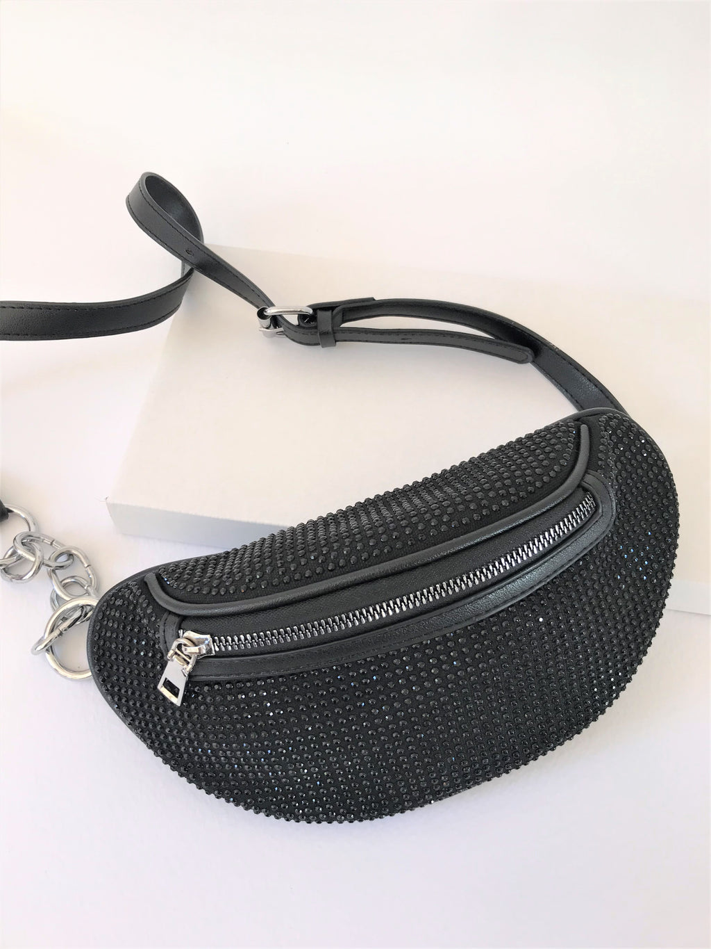 RHINESTONE MOONBAG - BLACK