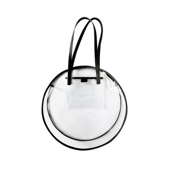 PVC CIRCULAR TOTE BAG - BLACK