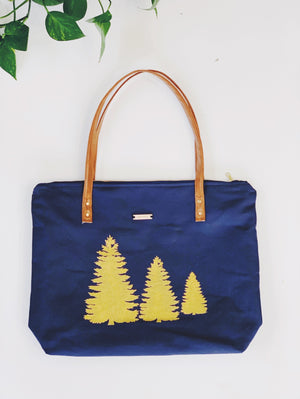 Three Pines Canvas Zippered Tote