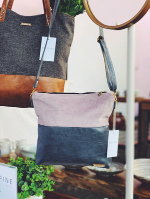 2 in 1  |  Mauve Crossbody Bag | Leather Strap