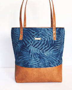 Navy Palm Signature Tote