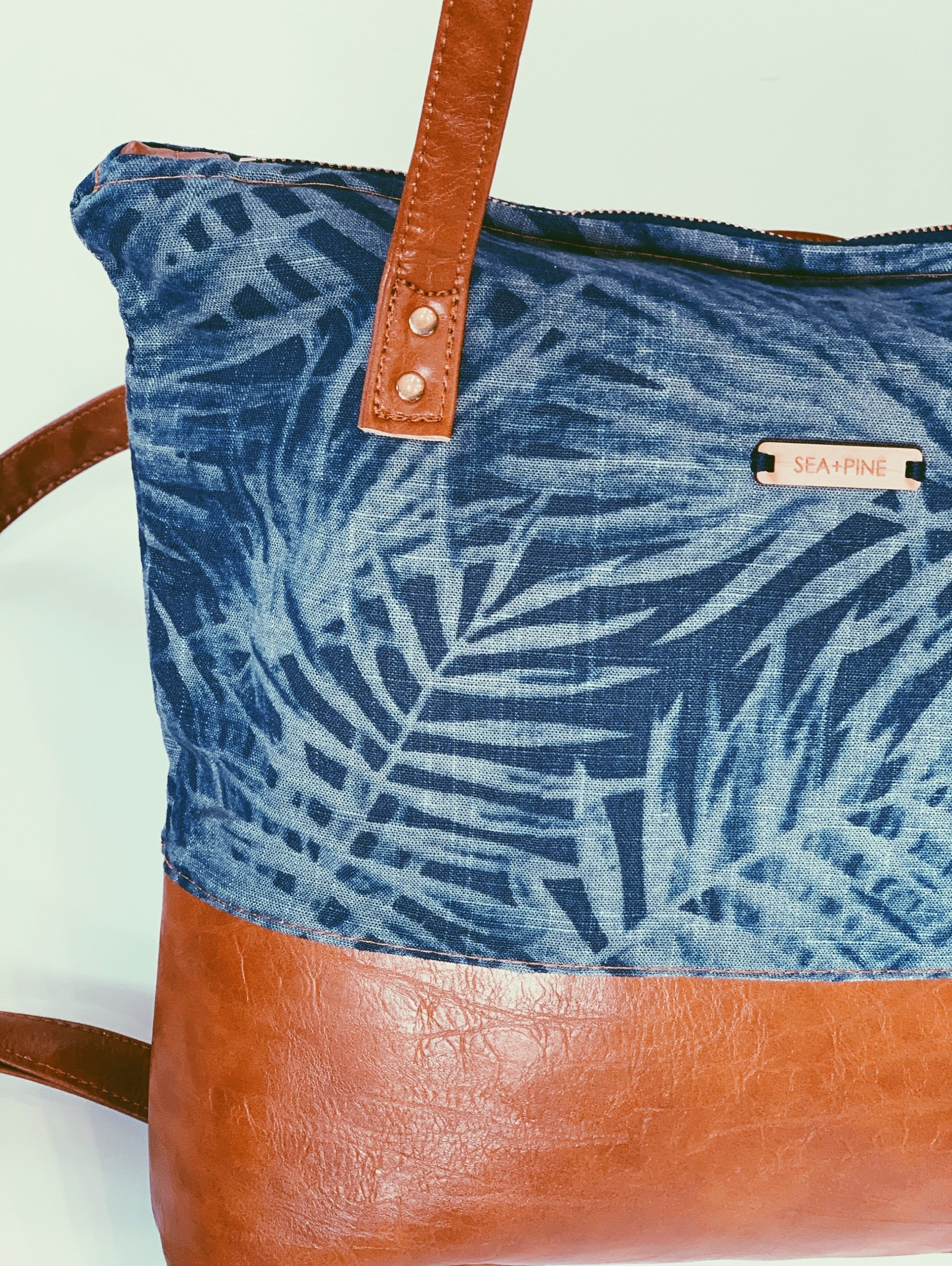Modern Traveler Backpack, Navy Palm