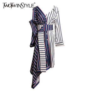 TWOTWINSTYLE Asymmetrical Shirt Dress Women Off Shoulder Striped Sexy Dresses Female with Wide Belt Patchwork Clothing Autumn