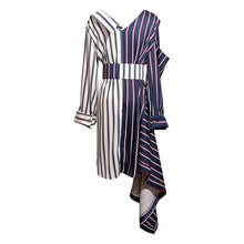 Load image into Gallery viewer, TWOTWINSTYLE Asymmetrical Shirt Dress Women Off Shoulder Striped Sexy Dresses Female with Wide Belt Patchwork Clothing Autumn