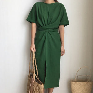 TWOTWINSTYLE Ruched Dress Female Short Sleeve Tunic High Waist Split Midi Dresses For Women 2018 Summer Korean Fashion Clothing