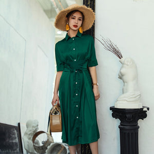 TWOTWINSTYLE Chiffon Dress Female Lace Up Short Sleeve High Waist Sexy Split Long Dresses Summer Women 2018 Fashion Elegant
