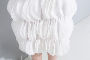 2019 Women Summer Sleeveless Solid White Midi Chiffon Dress Spaghetti Strap Layered Patches Stitched Party Sexy Club Dress 3693