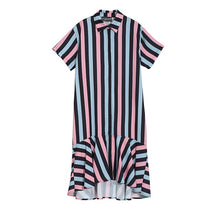Load image into Gallery viewer, 2019 Korean Style Women Summer Colorful Long Striped Shirt Dress Female Stylish Evening Party Club Mermaid Dress Vestidos 5025