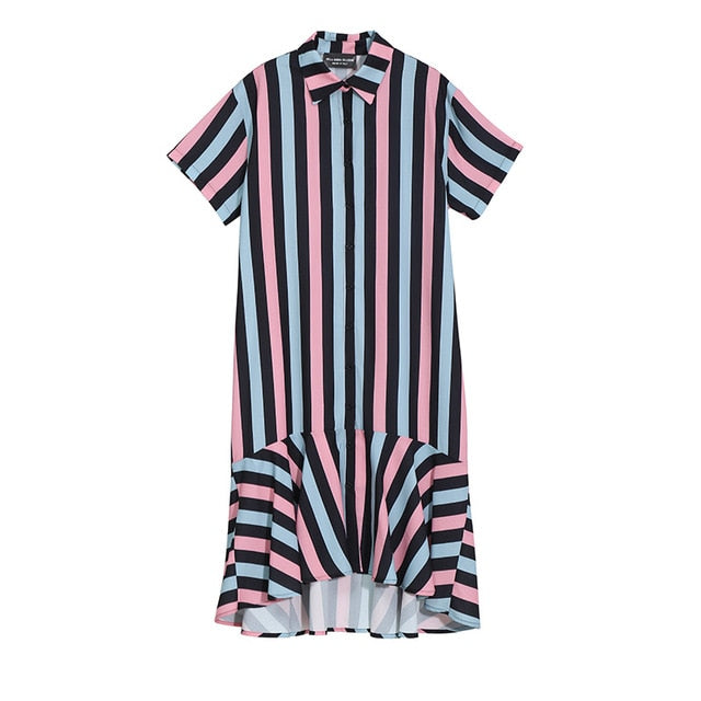 2019 Korean Style Women Summer Colorful Long Striped Shirt Dress Female Stylish Evening Party Club Mermaid Dress Vestidos 5025