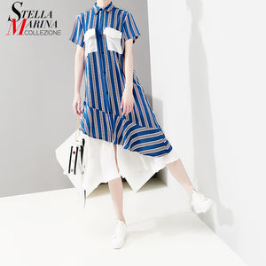 2019 Korean Style Summer Women Blue Striped Shirt Dress Pockets & Ruffles Female Casual Party Club Midi Dresses Robe Femme 5052