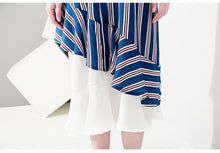 Load image into Gallery viewer, 2019 Korean Style Summer Women Blue Striped Shirt Dress Pockets & Ruffles Female Casual Party Club Midi Dresses Robe Femme 5052