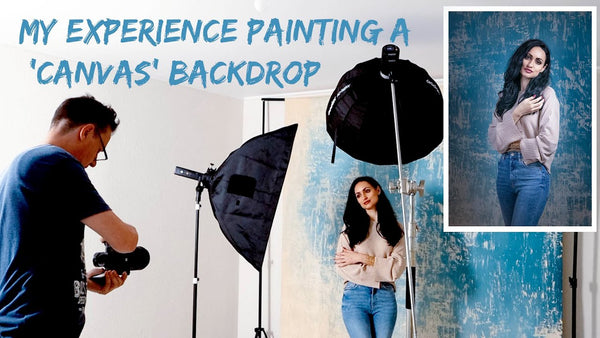 Hand Painted Canvas Backdrops - BTS Photoshoot Clot Studio with Godox AD300PRO