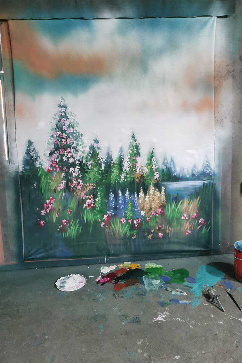 RTS-Clotstudio Fine Art Flower and Forest Spray Painted Backdrop Canvas Backdrop #clot81