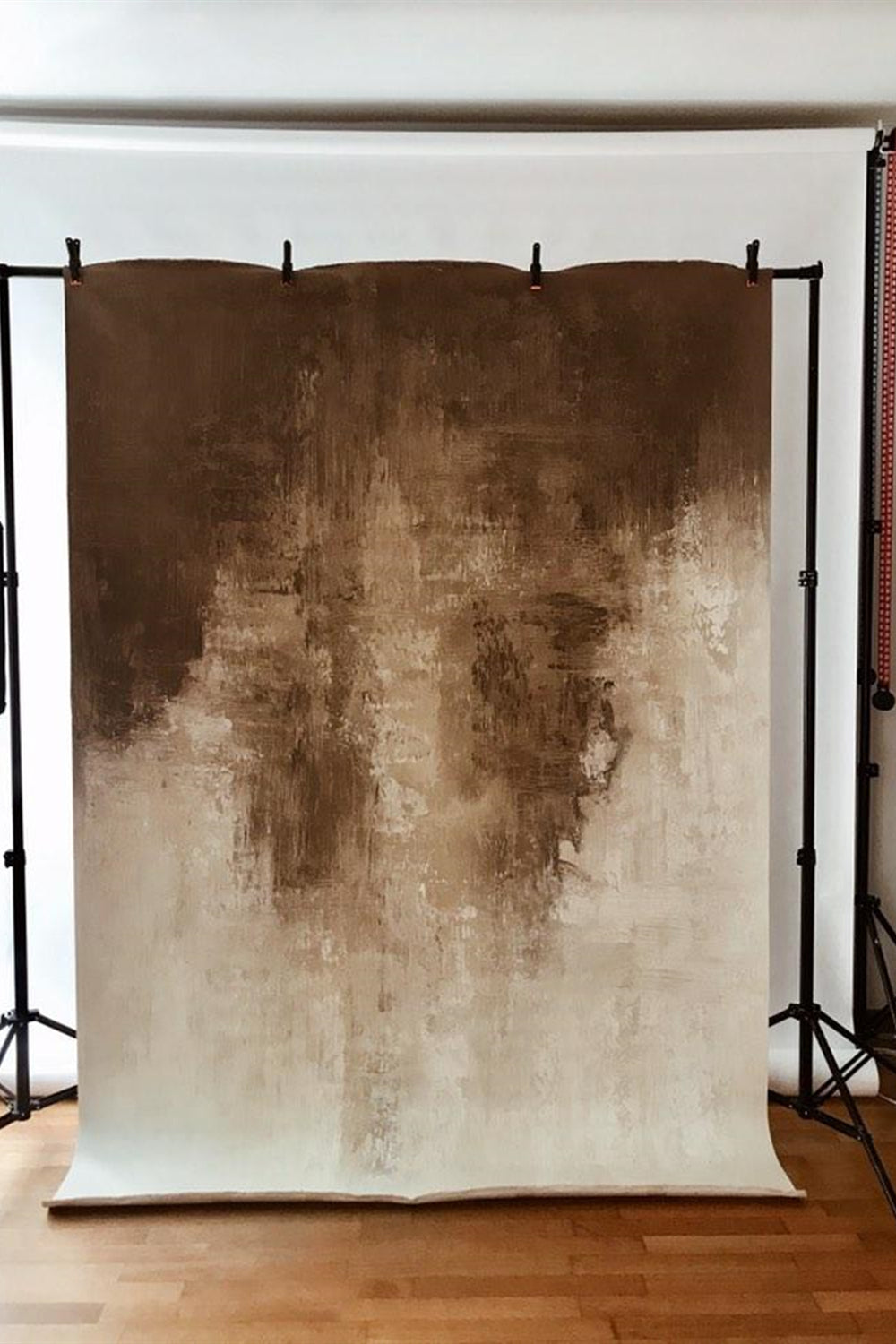 RTS-Clotstudio 5X7 ft & 7X9 ft Abstract Beige Spray Textured Hand Painted Canvas Backdrop #clot 49-Low texture-CLOT STUDIO