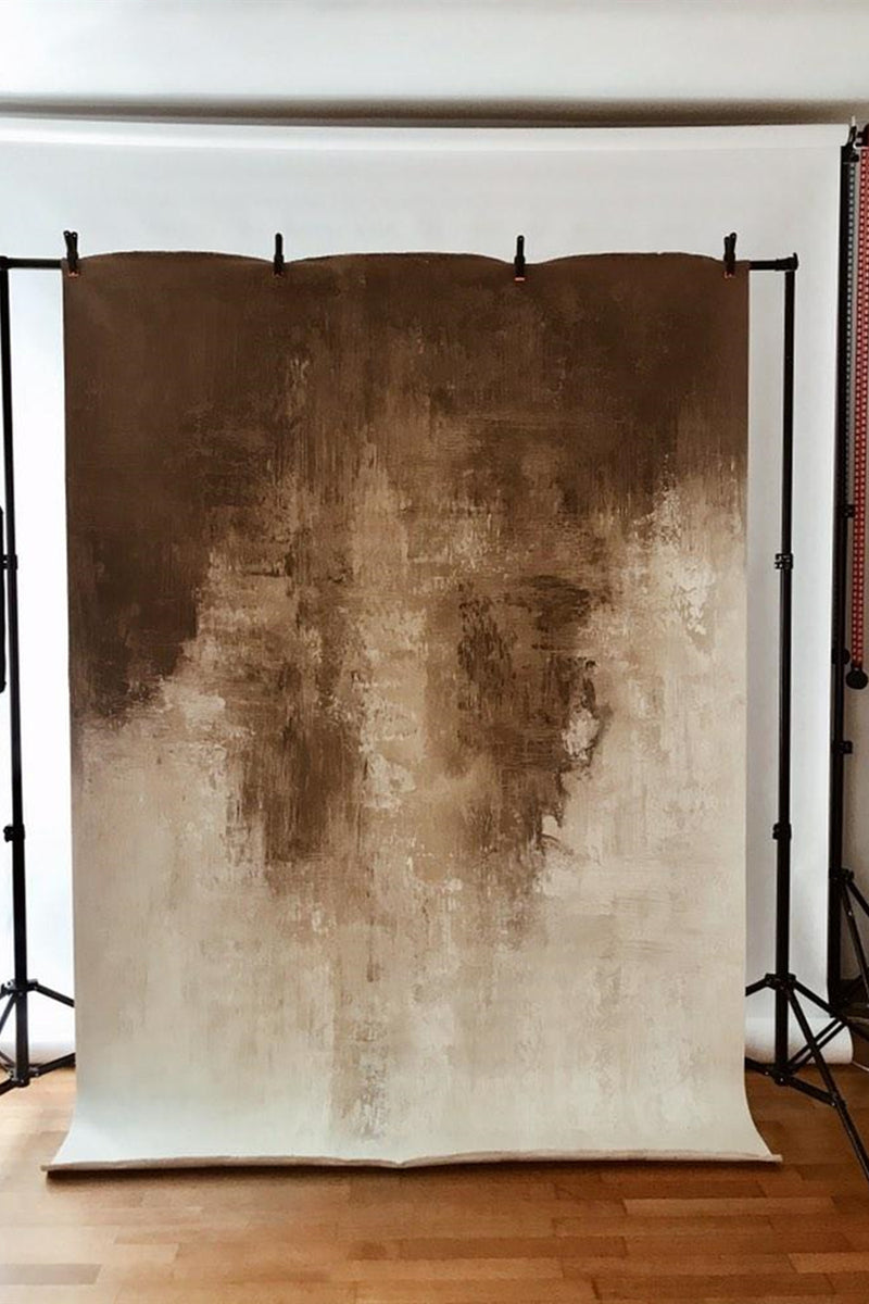 Clotstudio Abstract Beige Spray Textured Hand Painted Canvas Backdrop #clot 49-Low texture-CLOT STUDIO-custom hand painted canvas studio photo backdrops handmade photography backgrounds