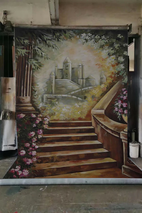 Clotstudio Castle Stairs Fine Art Floral Spray Painted Backdrop Canvas Backdrop #S0104-Mid Texture-CLOT STUDIO