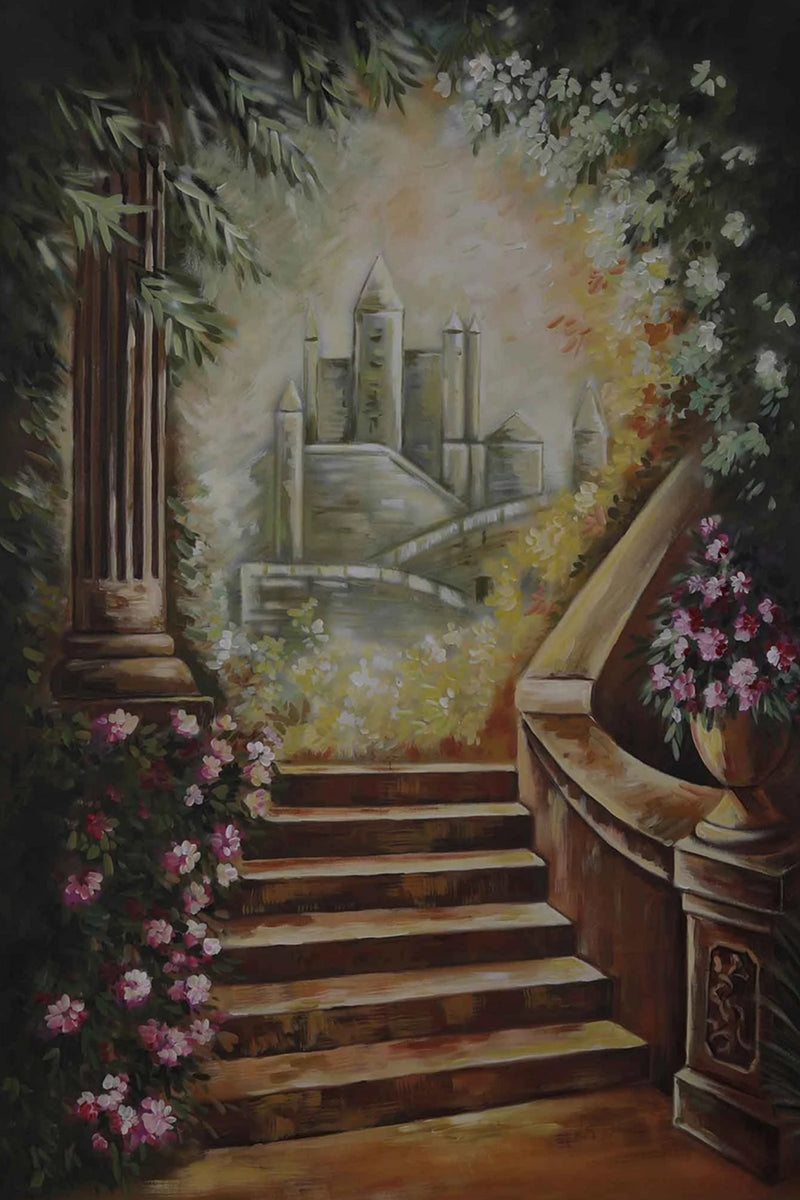 Clotstudio Castle Stairs Fine Art Floral Spray Painted Backdrop Canvas Backdrop #S0104