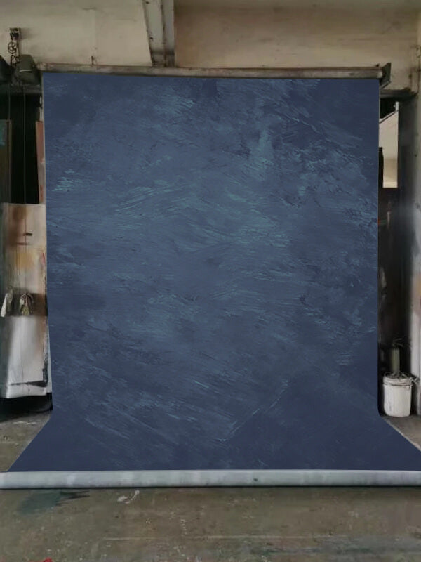 Clotstudio Abstract Blue Textured Hand Painted Canvas Backdrop #clot147-Mid Texture