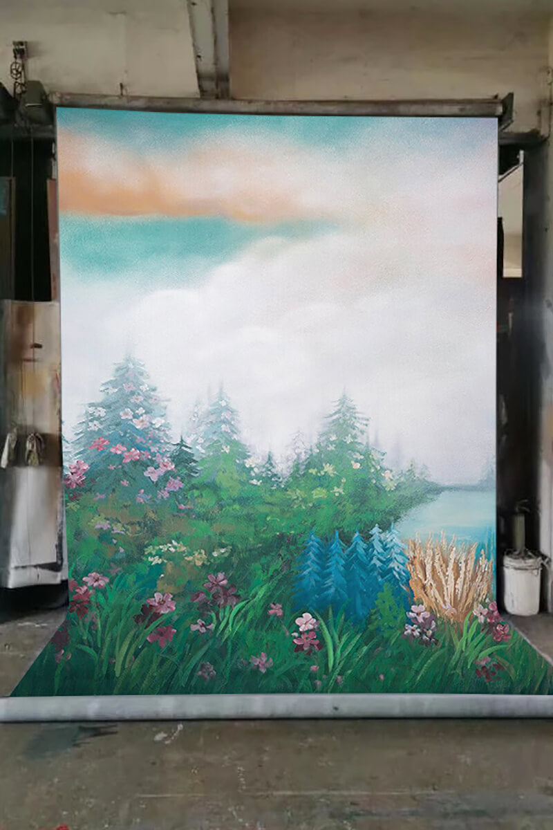 Clotstudio Fine Art Flower and Forest Spray Painted Backdrop Canvas Backdrop #clot81-Mid Texture-CLOT STUDIO