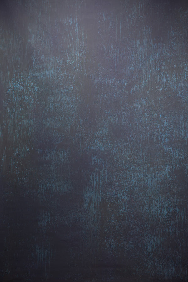 Clotstudio Abstract Black with Blue Textured Hand Painted Canvas Backdrop #clot 58