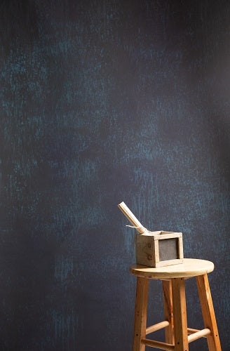 Clotstudio Abstract Black with Blue Textured Hand Painted Canvas Backdrop #clot 58-Mid Texture-CLOT STUDIO-custom hand painted canvas studio photo backdrops handmade photography backgrounds