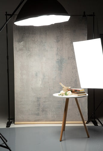 Clotstudio Abstract Grey with Light Beige Textured Hand Painted Canvas Backdrop #clot 51