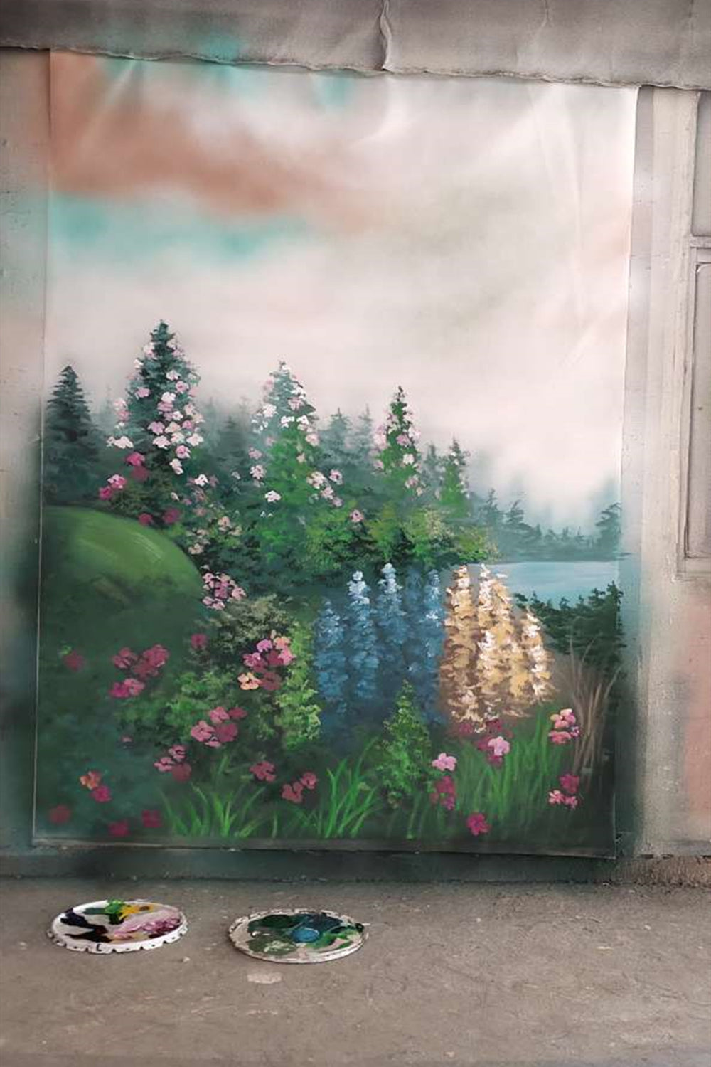 Clotstudio Fine Art Flower and Forest Spray Painted Backdrop Canvas Backdrop #clot81