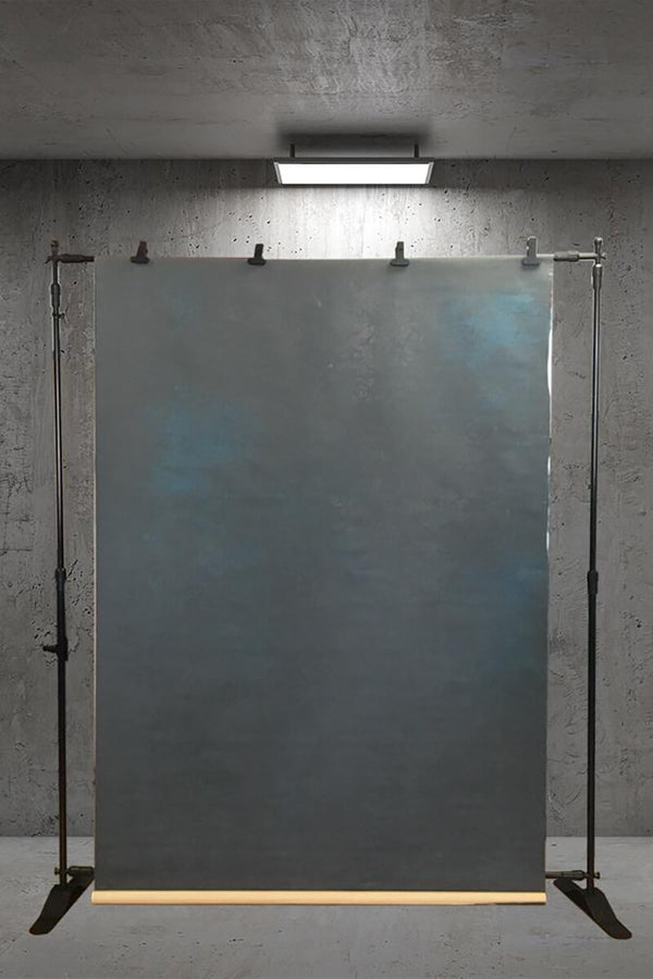 Clotstudio Abstract Dark Black with Little Blue Texture Hand Painted Canvas Backdrop #clot 30-Low texture