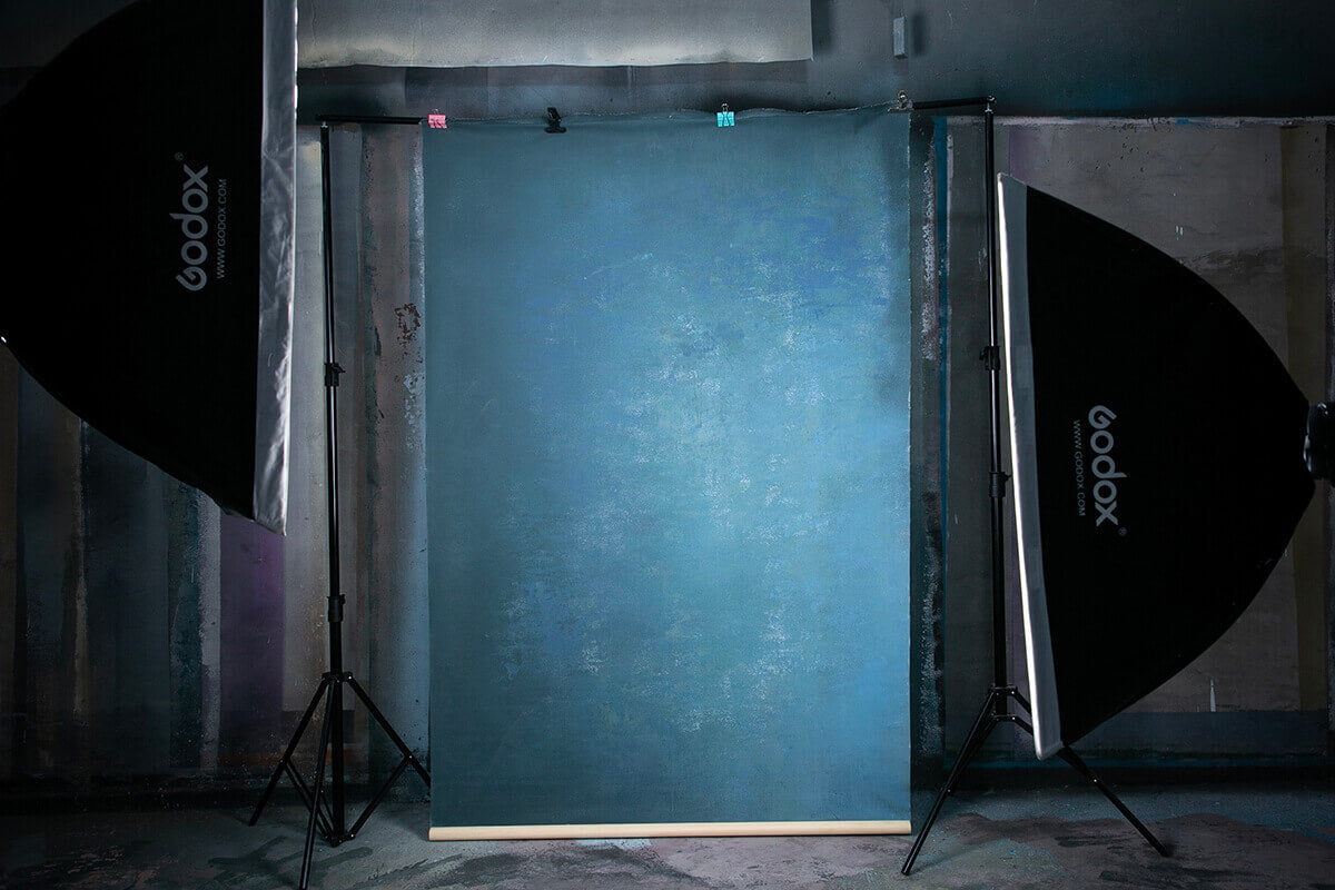 Clotstudio Abstract Blue Mid Textured Hand Painted Canvas Backdrop #clot 109-Mid Texture