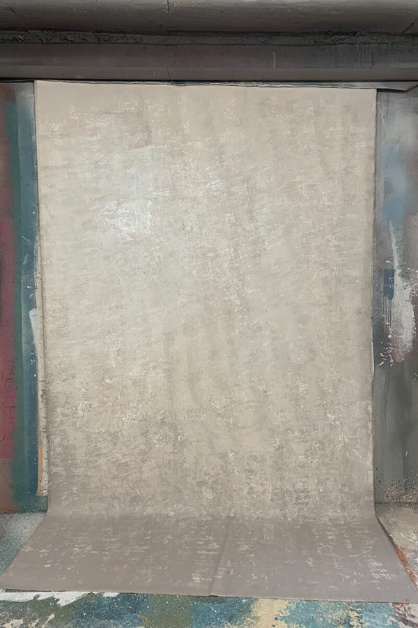 Clotstudio Abstract Warm Grey Mid Textured Hand Painted Canvas Backdrop #clot 110-Mid Texture