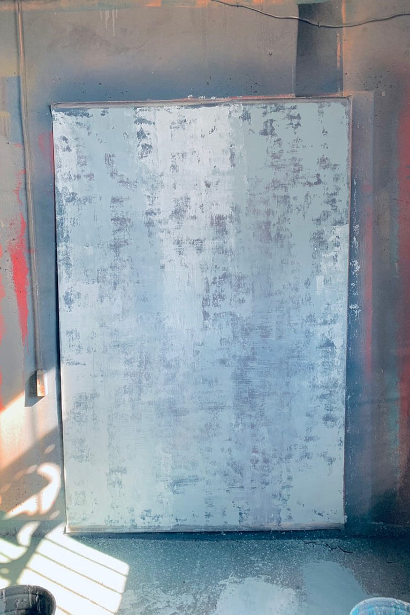 Clotstudio Abstract Grey Blue Textured Hand Painted Canvas Backdrop #clot 114